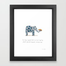 polka dot elephants serving us pie Framed Art Print