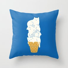 Cats Ice Cream Throw Pillow