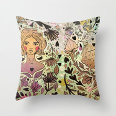 Bird Girl Throw Pillow
