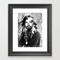 Jason Wing as Hania Spirit warrior B&W Framed Art Print
