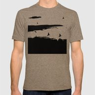 Let's Fly Away Mens Fitted Tee Tri-Coffee SMALL