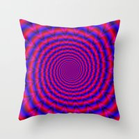 Red And Blue Spiral Throw Pillow