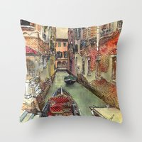 Autumn In Venice Throw Pillow