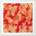 gold and red floral Art Print