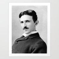 Nikola Tesla Portrait Art Print