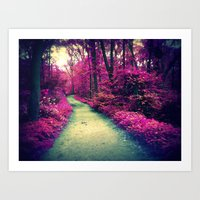 Mystical Path In Forest … Art Print