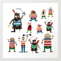 Pirates made of paper Art Print