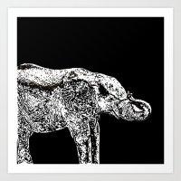 Elephant Black Art Print