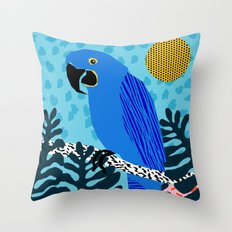 Steaz - memphis throwback tropical retro minimal bird art 1980s 80s style pattern parrot fashion Throw Pillow