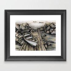 Old Boat on the Dock Framed Art Print