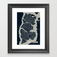 Gotham City Streets Map Framed Art Print