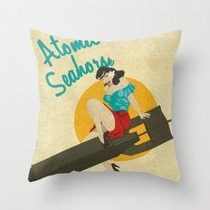 Atomic Seahorse Throw Pillow