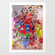 Art Print featuring 3 Cats by Main