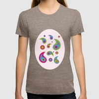 Paisleys - Pink Background Womens Fitted Tee Tri-Coffee SMALL