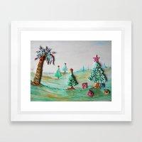 Tropical Christmas Hanukkah Kwanzi Seasonal Winter Wonderland Framed Art Print