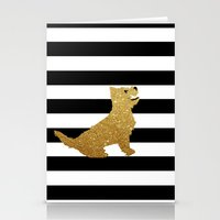 Stationery Card featuring Highland Westie terrier dog in golden glitter by ialbert