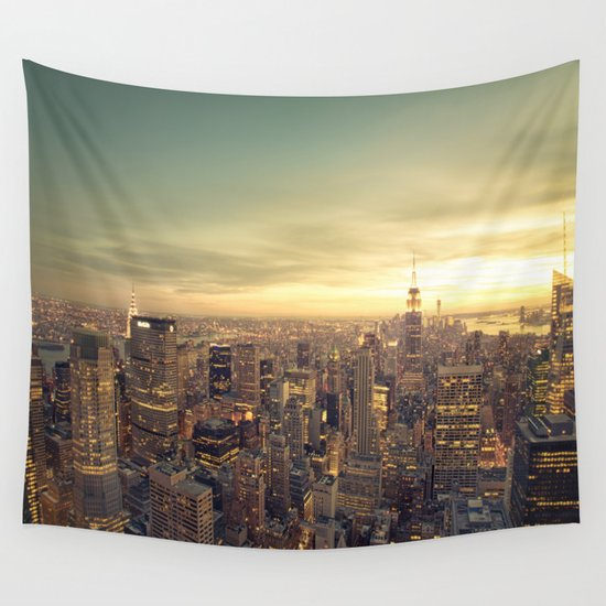 New York Skyline Cityscape Wall Tapestry By Vivienne Gucwa