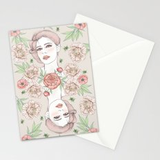 Woman with flowers and beetles Stationery Cards
