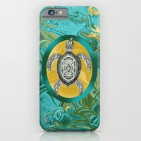 iPhone Cases featuring Aztec Emblem Sea Turtle  by Distortion Art