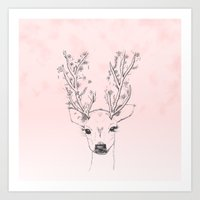 Cute handdrawn floral deer antlers pink watercolor Art Print
