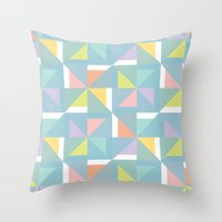 pinwheels - blue Throw Pillow