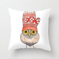 mitten owl Throw Pillow