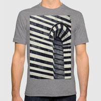 Striped Mens Fitted Tee Tri-Grey SMALL