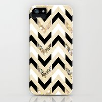 iPhone 5s & iPhone 5 Cases featuring Black, White & Gold Glitter Herringbone Chevron on Nude Cream by Tangerine-Tane