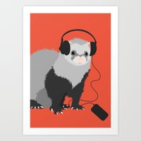 Music Loving Ferret Art Print