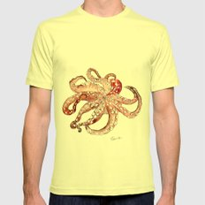 Octopus Mens Fitted Tee Lemon SMALL