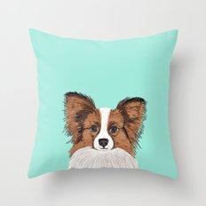 Papillon Cute Dog Fluffy… Throw Pillow