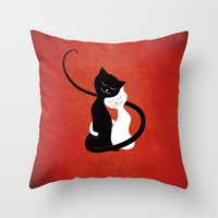 White And Black Cats In … Throw Pillow