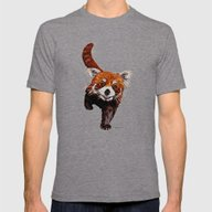 Red Panda Mens Fitted Tee Tri-Grey SMALL