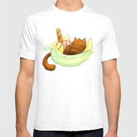 Banana Split Cat Mens Fitted Tee White SMALL