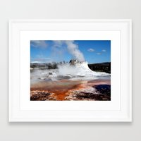 Geyser In Yellowstone Na… Framed Art Print