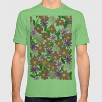Flower Design Mens Fitted Tee Grass SMALL