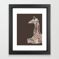 Giraffe in Brown Framed Art Print
