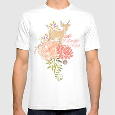 Garden Deer SMALL White Mens Fitted Tee