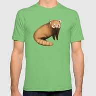 Red Panda Mens Fitted Tee Grass SMALL