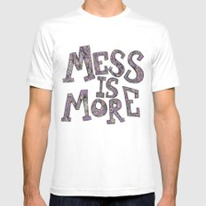Mess is More White SMALL Mens Fitted Tee