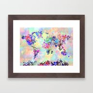 World Map Floral Framed Art Print
