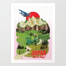 Japan vintage style vacation poster Art Print