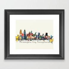 Philadelphia skyline comic Framed Art Print