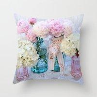 Romantic Pink Peonies Spring Floral Decor Throw Pillow