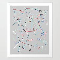 Colored Connected Lines 1 Art Print