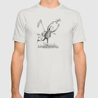 'Moth Man' Mens Fitted Tee Silver SMALL