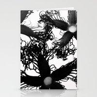 Three Black Flowers Stationery Cards