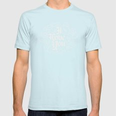 3 Little Words SMALL Mens Fitted Tee Light Blue