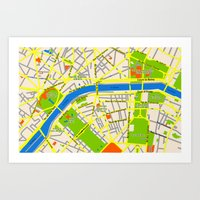 Paris Map Design Art Print