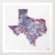 Texas map Art Print